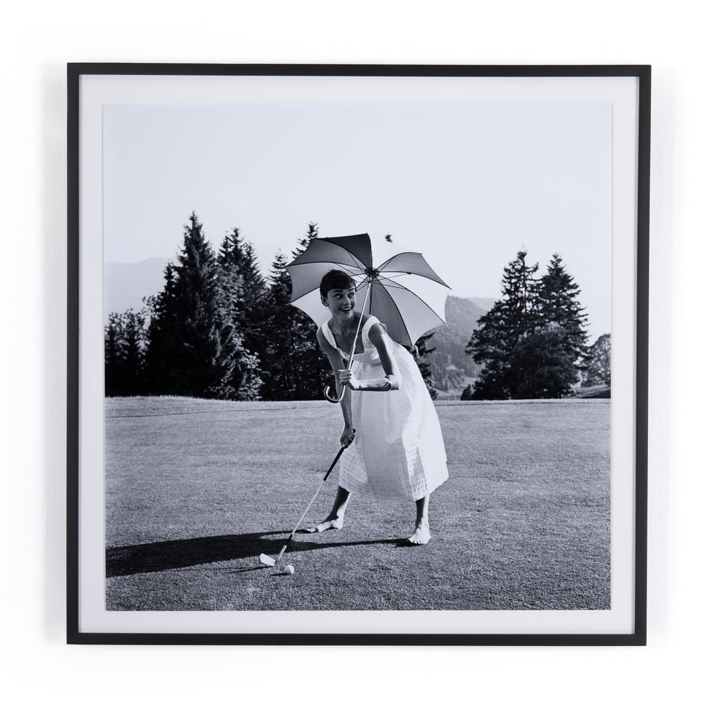 Golfing Hepburn Framed Wall Art by Getty Images