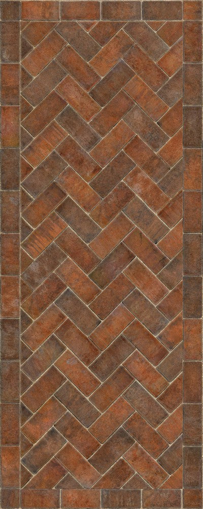 "Williamsburg Brick Herringbone ""Trip To Market Square"" Vinyl Floorcloth"