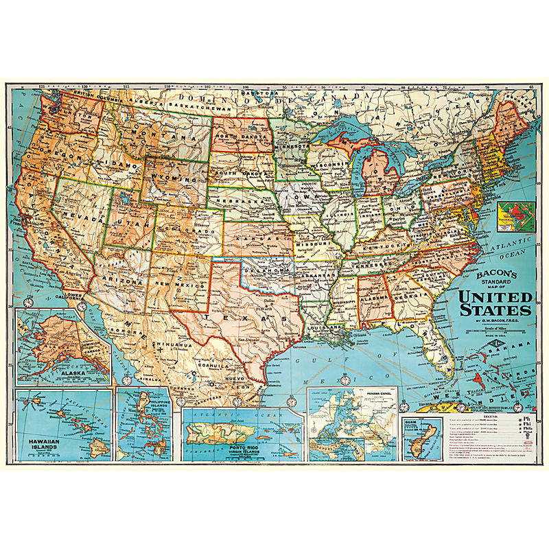 Cavallini Vintage Poster Wrapping Paper Cheap Wall Art Wall Decor Dorm Room USA Map United States Cartography Social Studies