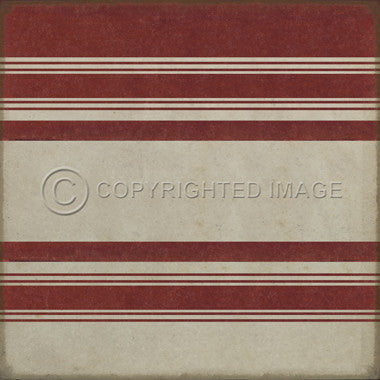 "Pattern 50 ""Organic Stripes Red and White"" Vinyl Floorcloth"