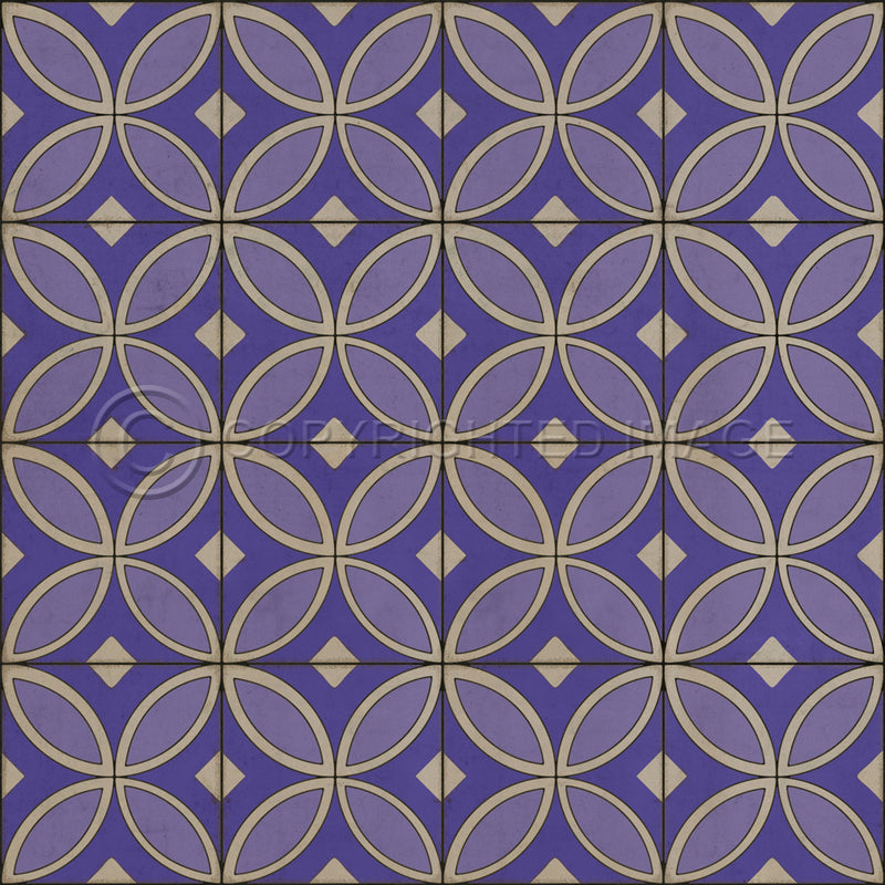 "Pattern 70 ""Waltzing with Violets in Our Hair"" Vinyl Floorcloth"