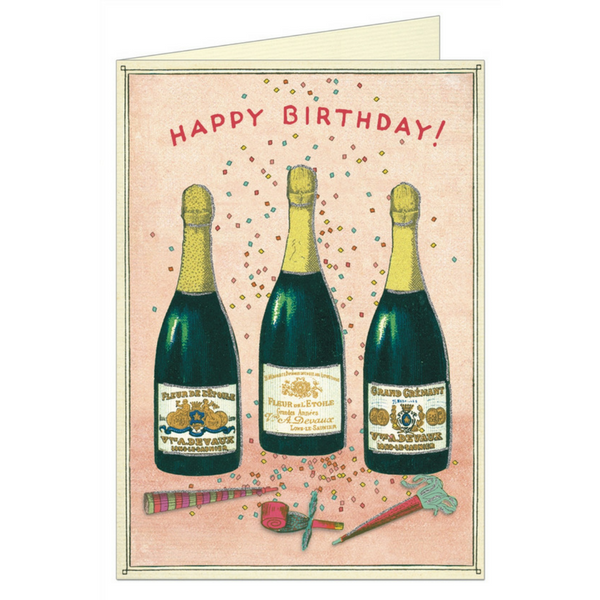 "Cavallini ""Happy Birthday Champagne"" Greeting Card"