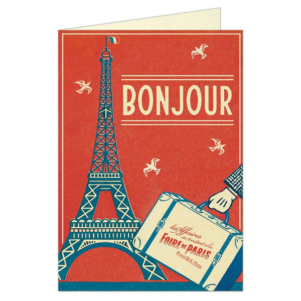 "Cavallini ""Bonjour Paris"" Greeting Card"