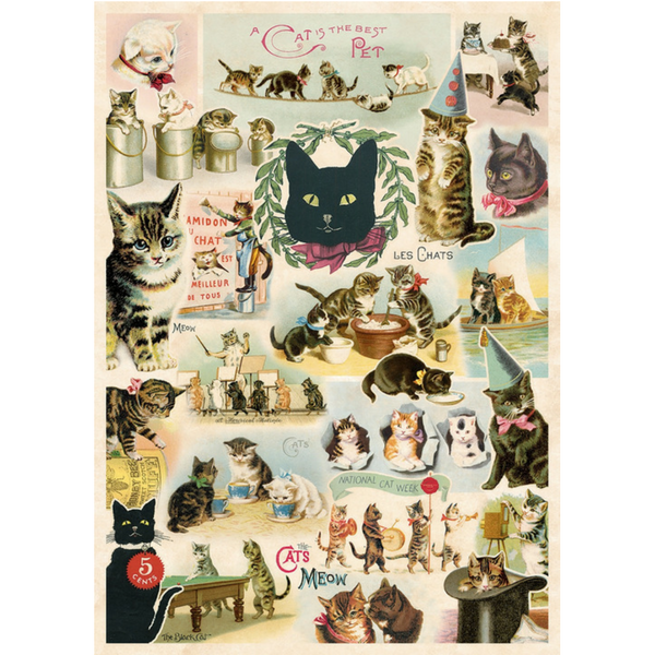 Cavallini Vintage Poster Wrapping Paper Cheap Wall Art Wall Decor Cat Collage Cats Kittens Feline Crazy Cat Lady