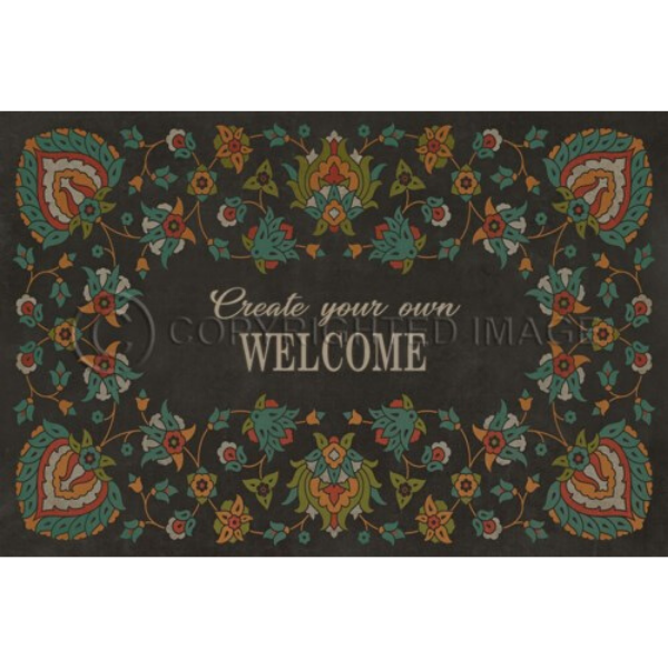 "Arabic Floral ""Transactions with Beauty"" Customized Vinyl Mat"