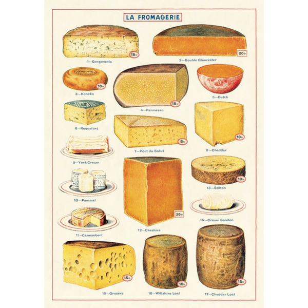 Cavallini Vintage Poster Wrapping Paper Cheap Wall Art Wall Decor Dorm Room Art Cheese Fromagerie Cheese Shop Kitchen Art