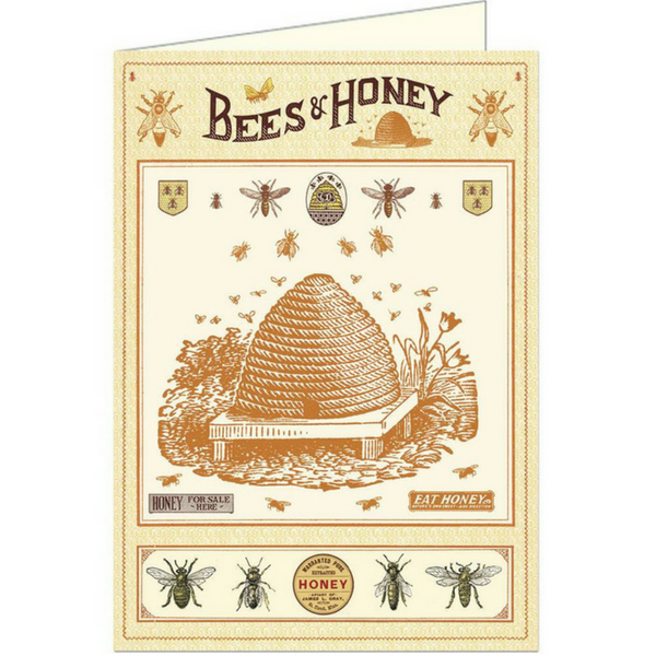 "Cavallini ""Bees & Honey"" Greeting Card"