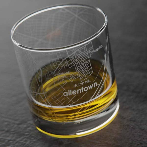Allentown Map Etched Rocks Glass