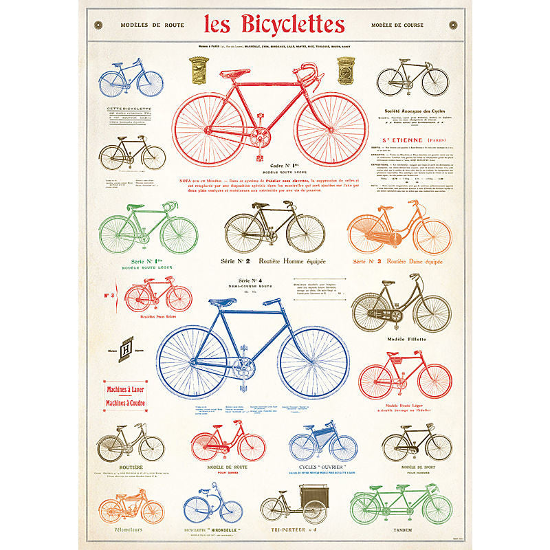 Cavallini Vintage Poster Wrapping Paper Cheap Wall Art Wall Decor Dorm Room Decor Les Bicyclettes Bicycles Cycling