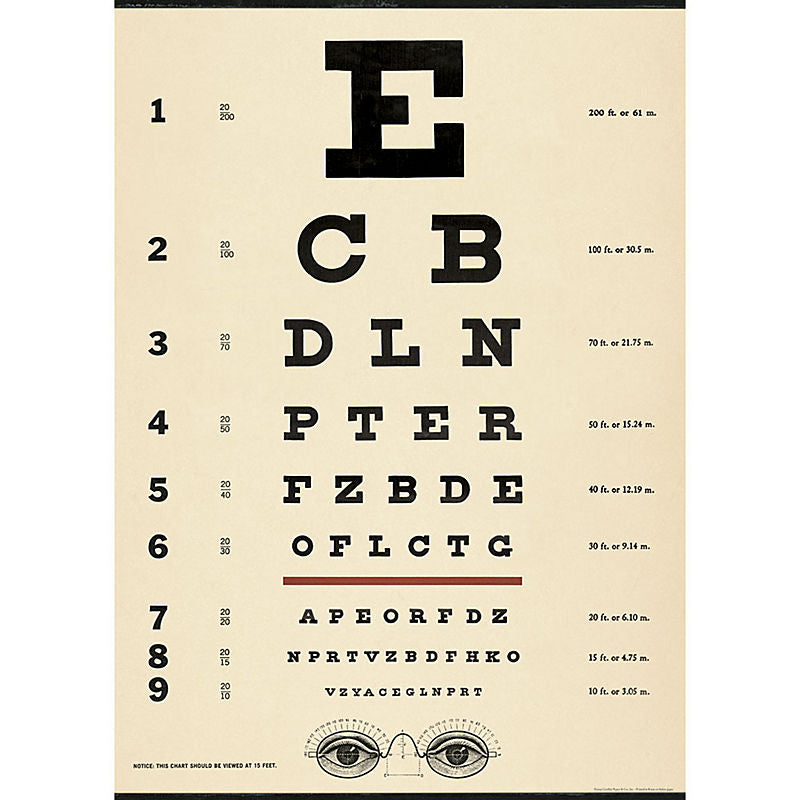Cavallini Vintage Poster Wrapping Paper Cheap Wall Art Wall Decor Dorm Room Decor Vintage Eye Chart Optometry Office Medical