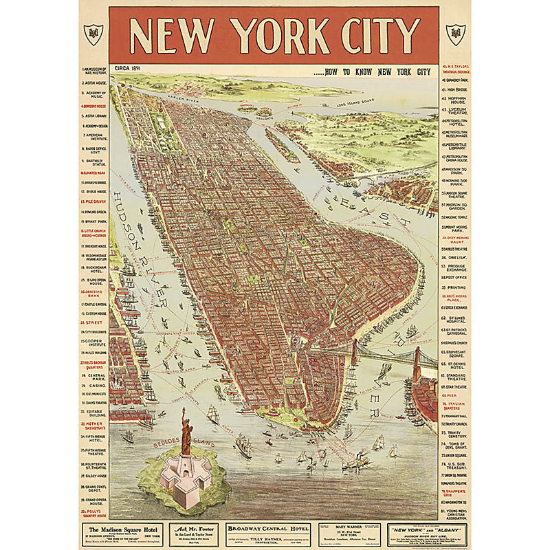 Cavallini Vintage Poster Wrapping Paper Cheap Wall Art Wall Decor Dorm Room Decor New York City Map Vintage Travel Guide Manhatten