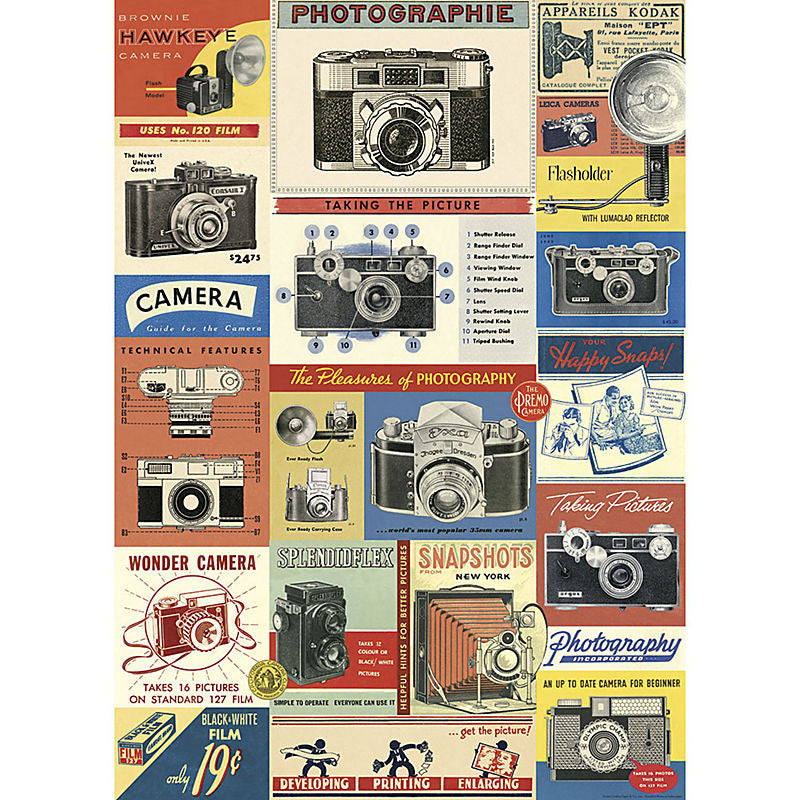 Cavallini Vintage Poster Wrapping Paper Cheap Wall Art Wall Decor Dorm Room Vintage Cameras Advertisements Photography Shutterbug Photographer