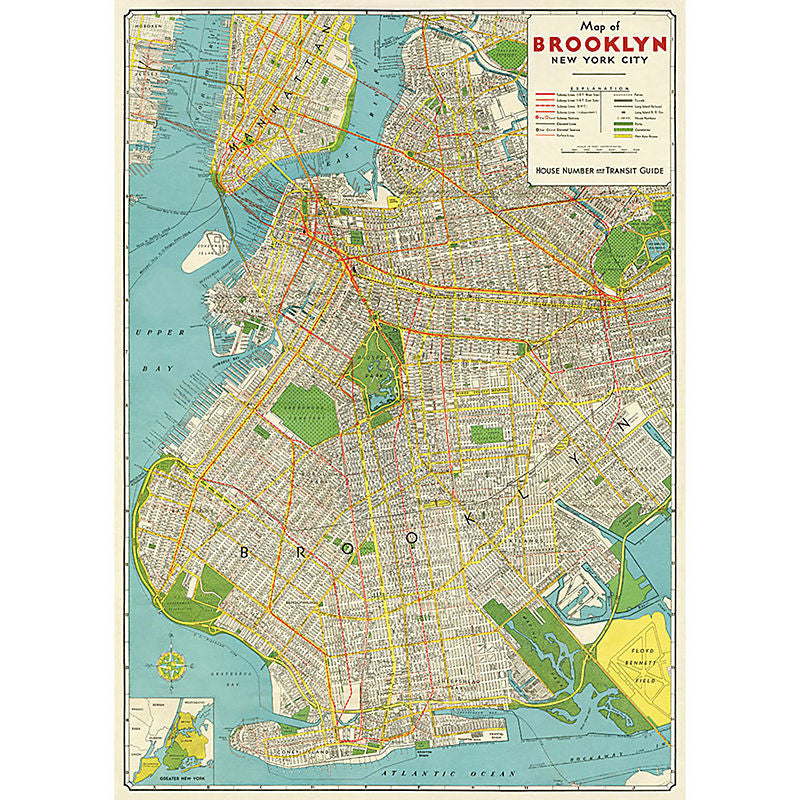 Cavallini Vintage Poster Wrapping Paper Cheap Wall Art Wall Decor Dorm Room Decor Brooklyn Map Vintage Map New York