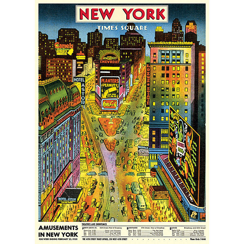 Cavallini Vintage Poster Wrapping Paper Cheap Wall Art Wall Decor Dorm Room Decor Vintage Travel Poster New York City Times Square Broadway Theater District