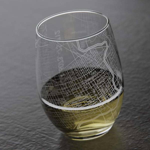 Allentown Map Etched Stemless Wine Glass