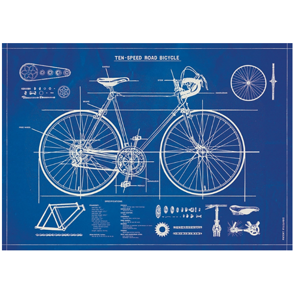 Cavallini Bicycle Blueprint Wrapping Paper