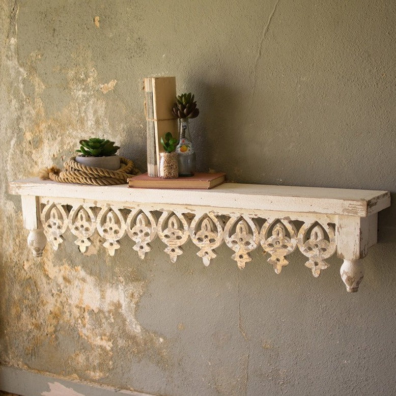 Rustique Hand-Carved Wooden Wall Shelf