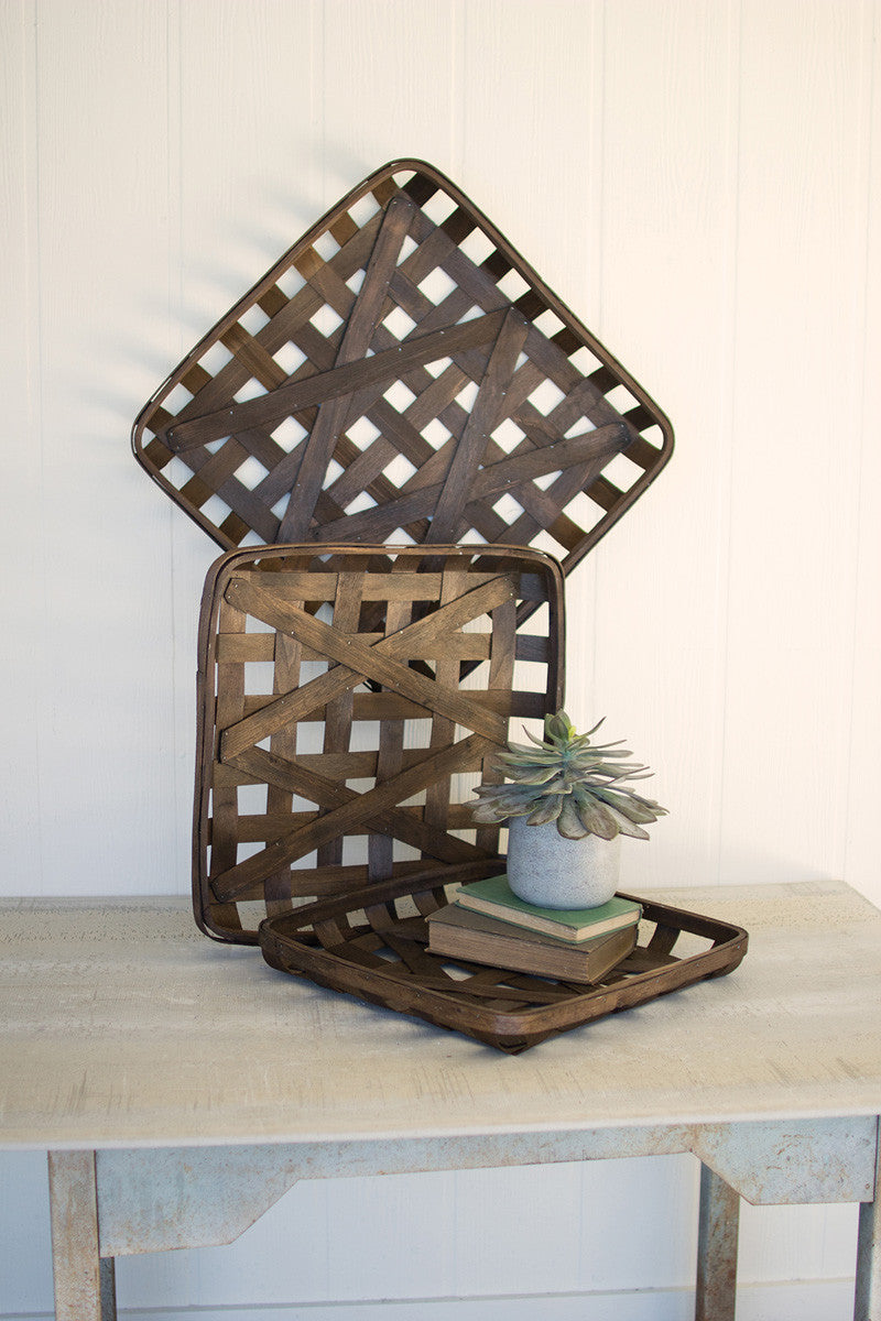 Square Woven Split Wood Baskets