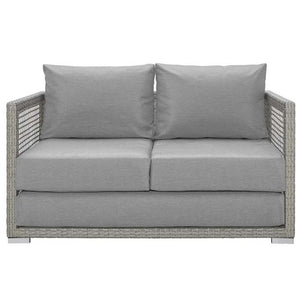 Elijah Outdoor Patio Wicker Rattan Loveseat