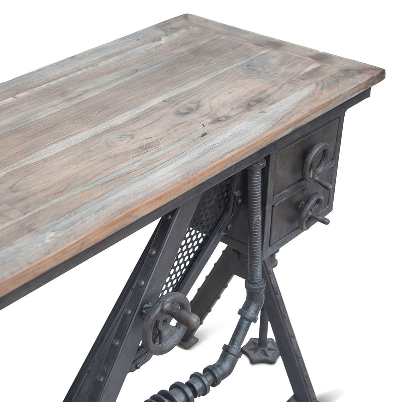Steampunk Console Desk Industrial Reclaimed Wood Cast Iron