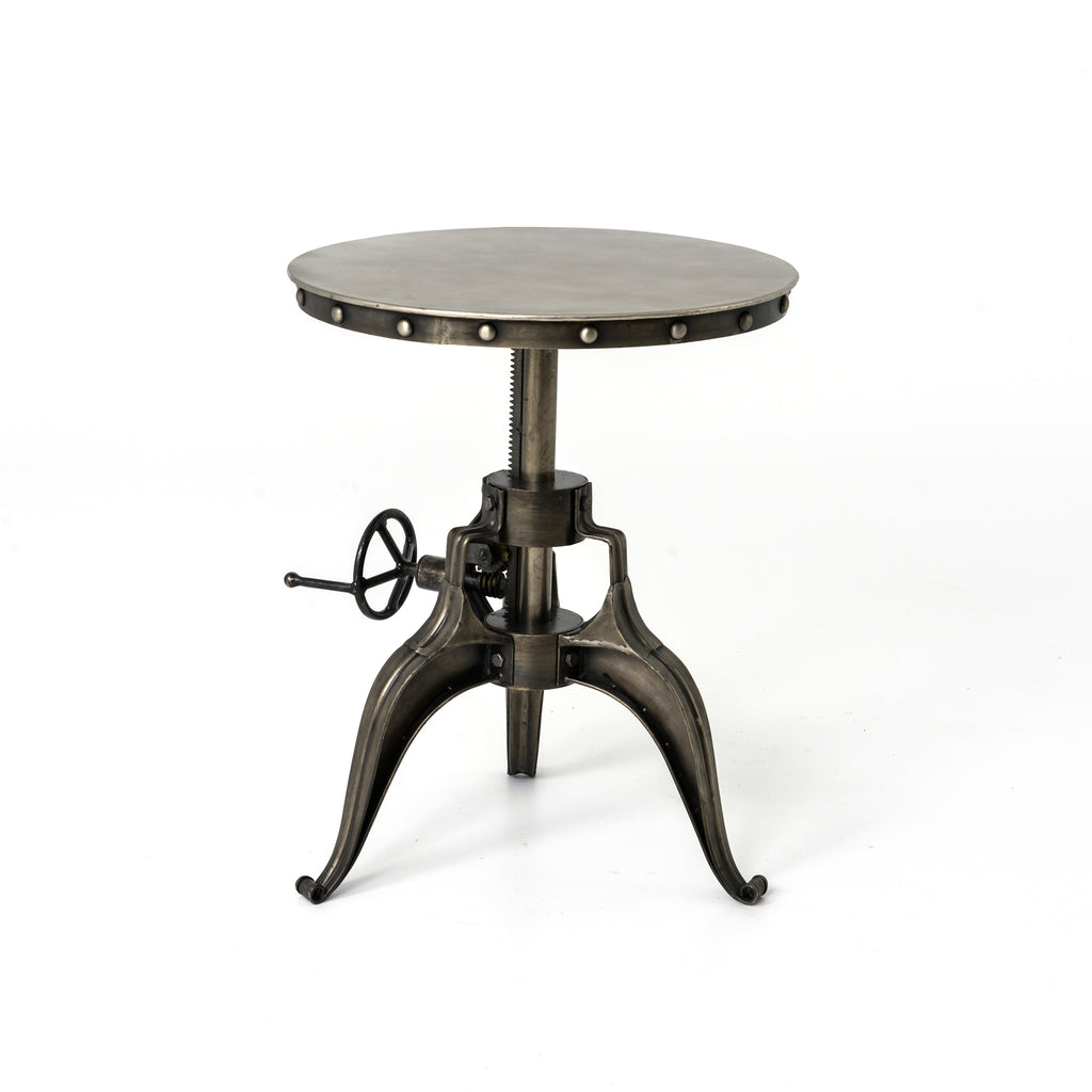 Rolling Antique Nickel Crank Side Table