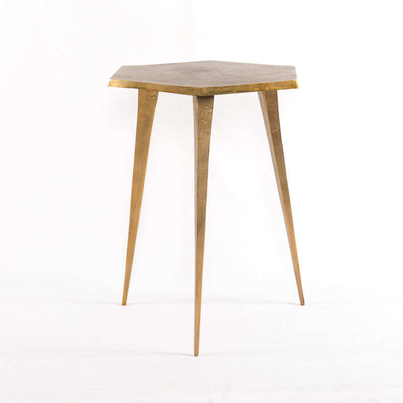 Hex End Table-Raw Brass