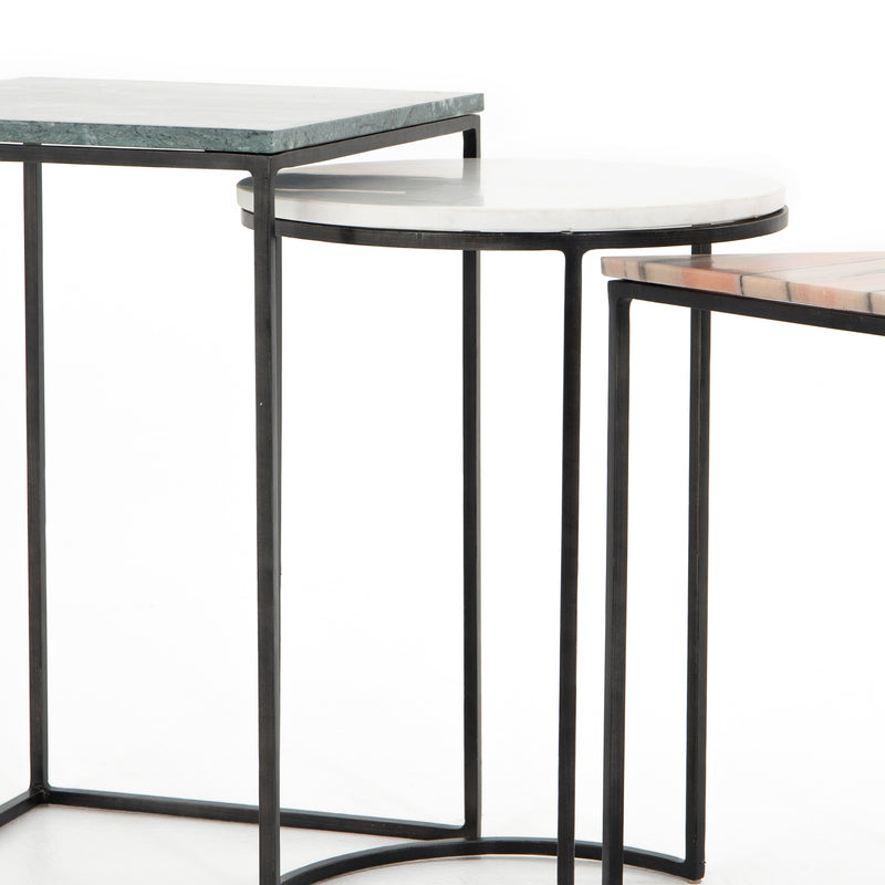 Amari Nesting End Tables-Green Marble