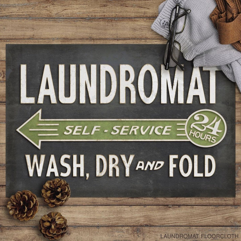 Laundry Room Rug Vinyl Floorcloth Floor Cloth Vintage Advertising Fixer Upper Style Laundromat Self Service Wash Dry and Fold