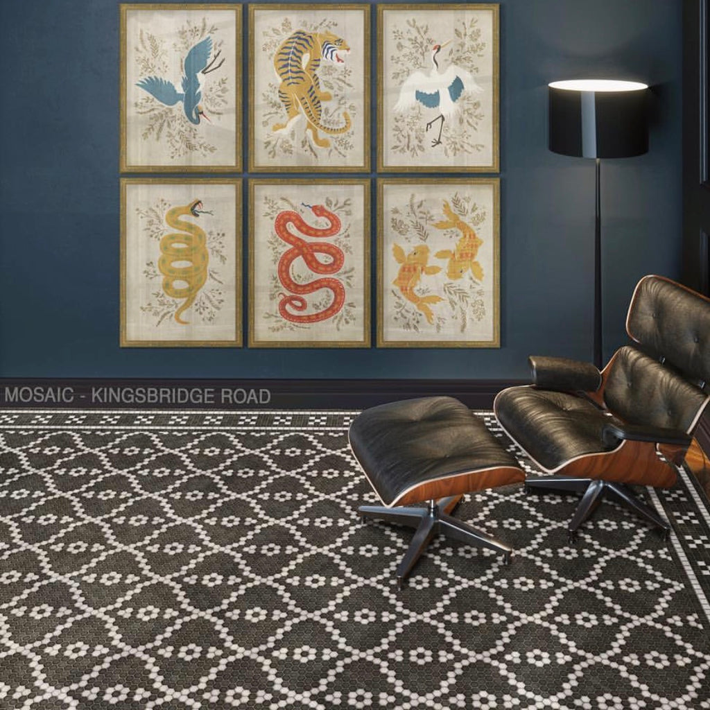 "Mosaic F ""Kingsbridge Road"" Vinyl Floorcloth"