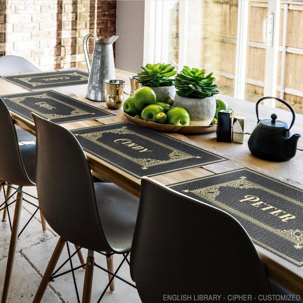 "English Library ""Cipher"" Customized Vinyl Mat"