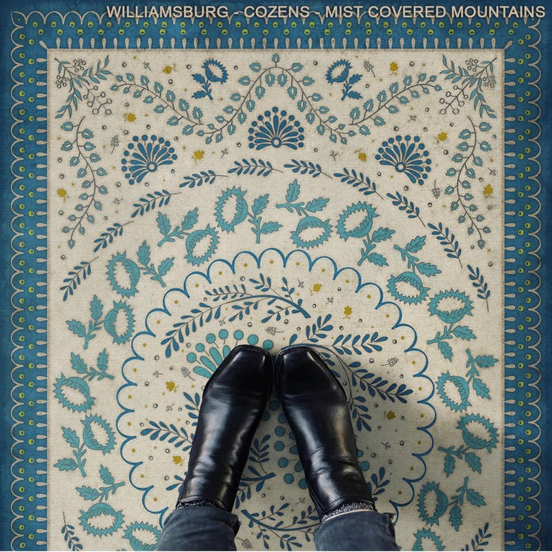 "Williamsburg Cozens ""Mist Covered Mountains"" Vinyl Floorcloth"
