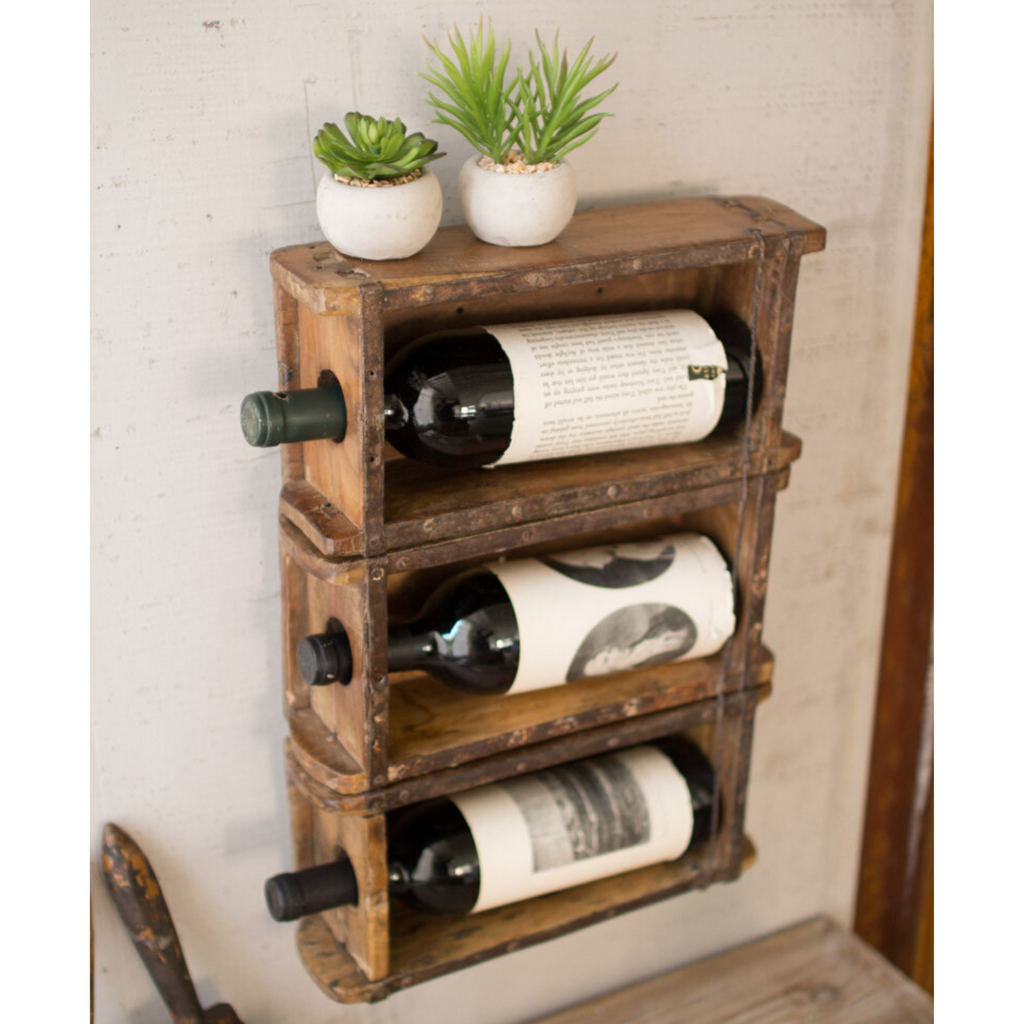 Reclaimed Antique Brick Mold Hanging Wine Rack