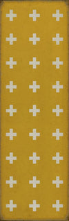 Vinyl Floor Cloth Floorcloth Vintage Greek Cross Kid Friendly Rug Pet Friendly Rug Indoor Outdoor Safe Lemon Yellow