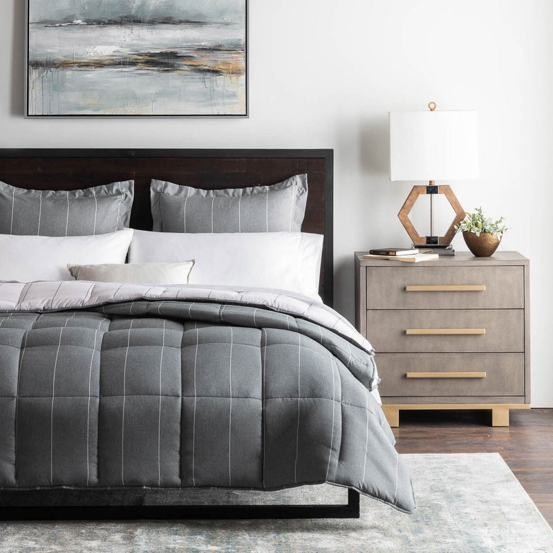 Woven Down Alternative Chambray Comforter Set in Flint