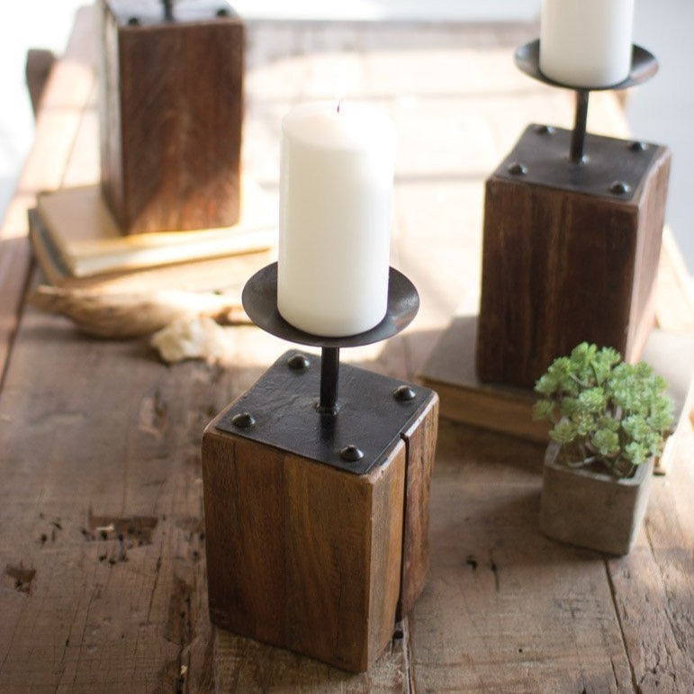 Recycled Wood Candle Holders, Set of 3