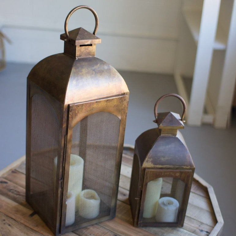 Antique Bronze Lanterns, Set of 2