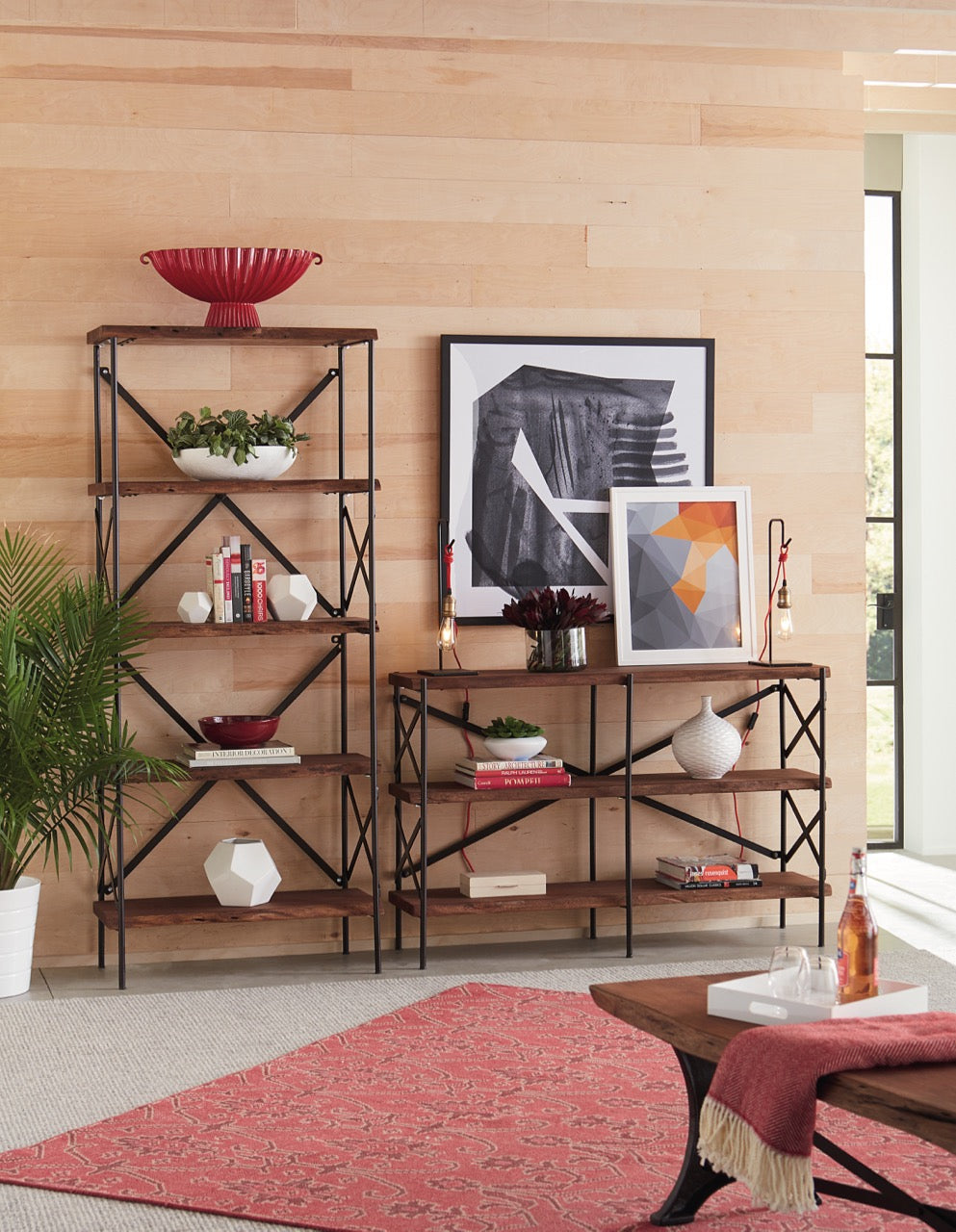 Saucona Forge Live-Edge Tall Bookshelf