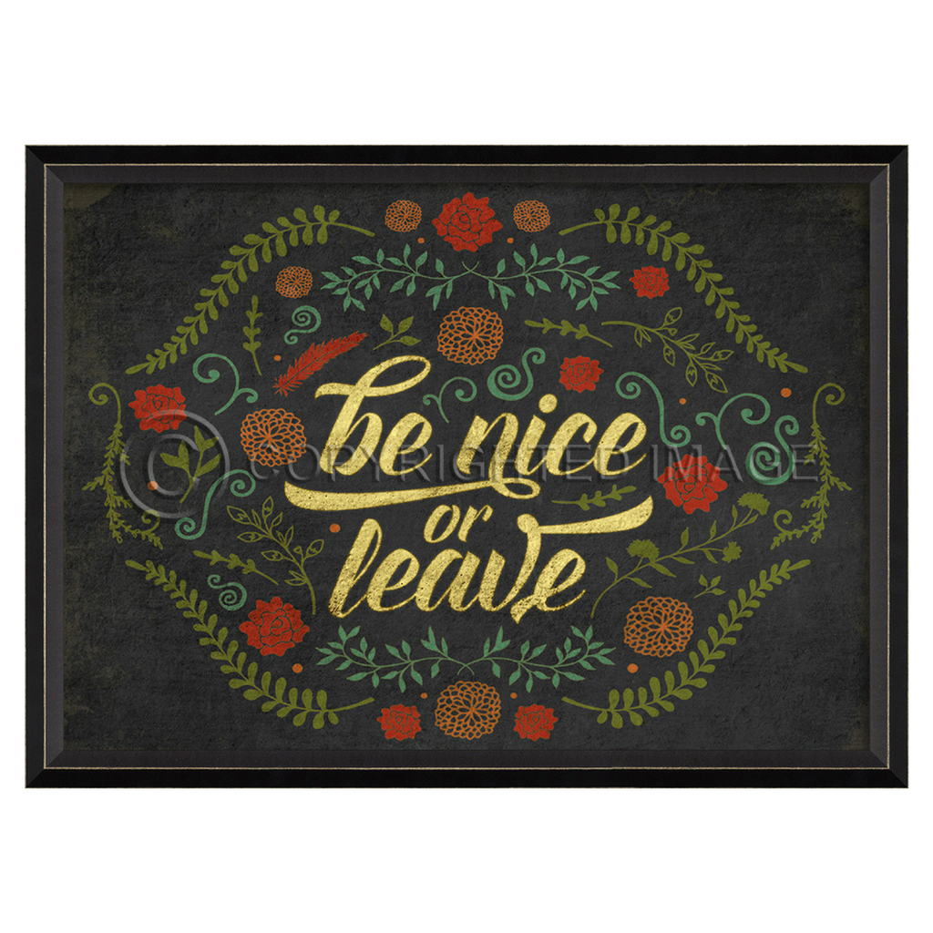 Happy Thoughts Wall Art: Be Nice or Leave