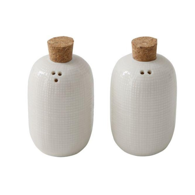 Embossed Ceramic Salt & Pepper Shakers