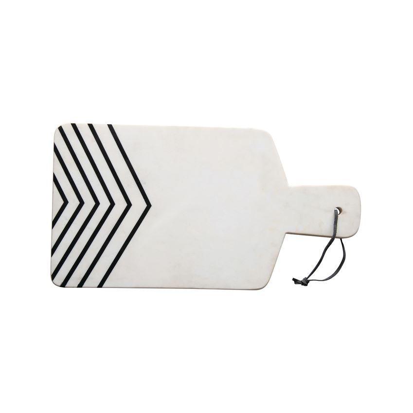 Lodi Black & White Chevron Marble Cutting Board
