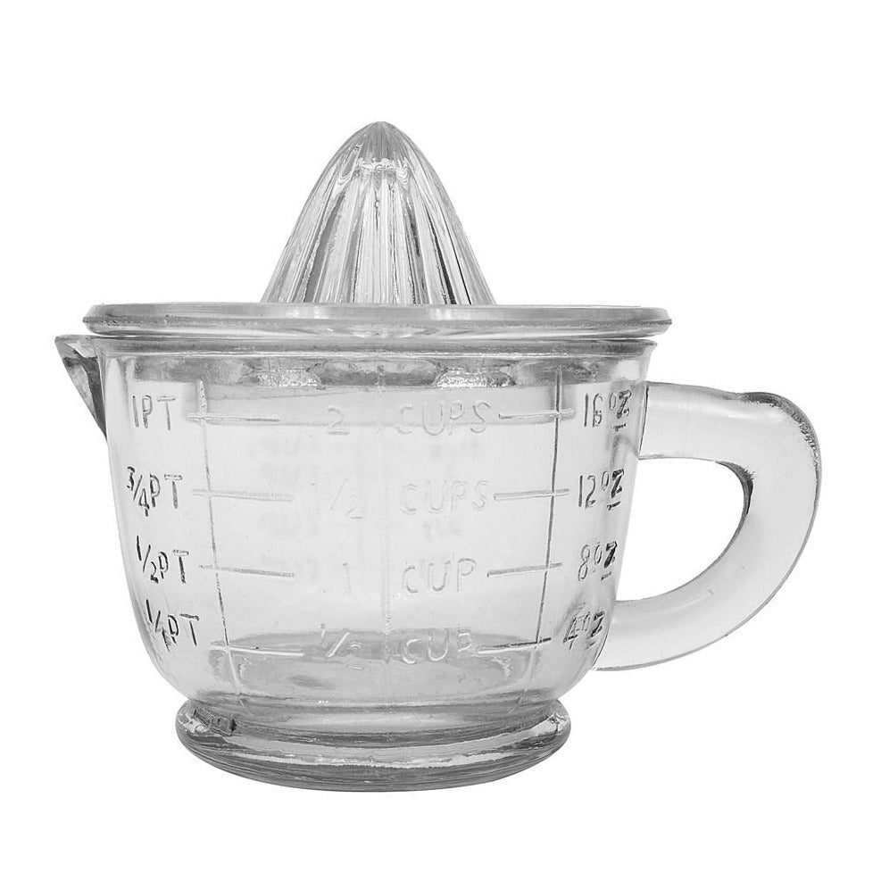 Vintage Style Pressed Glass Juicer + Measuring Cup