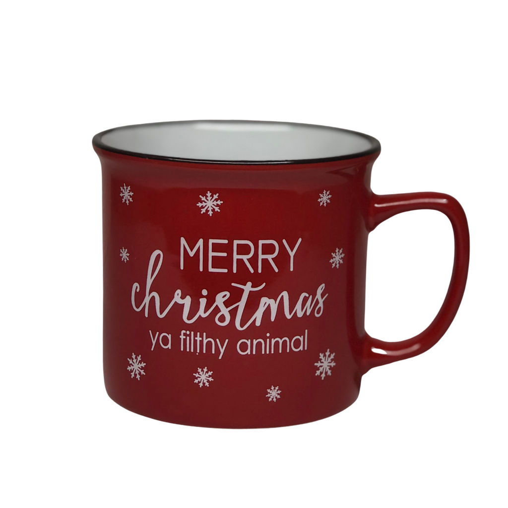 """Merry Christmas Ya Filthy Animal"" Mug, Red"