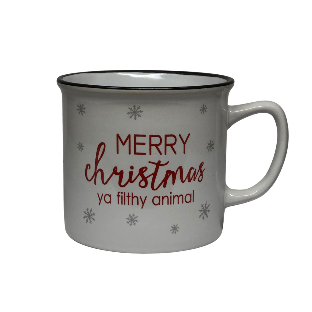 """Merry Christmas Ya Filthy Animal"" Mug, White"