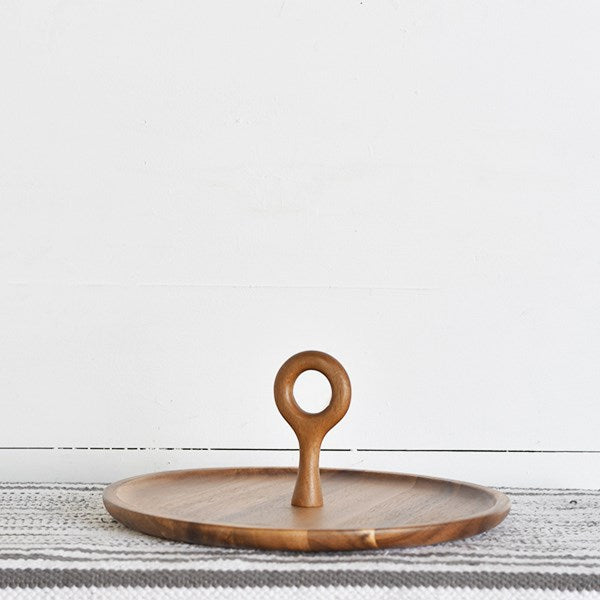 Acacia Wood Ring Handle Tray