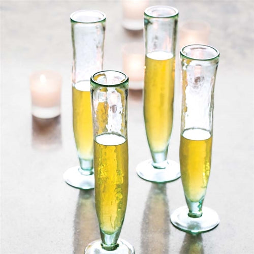 Tall Recycled Champagne Flutes, Set of 6