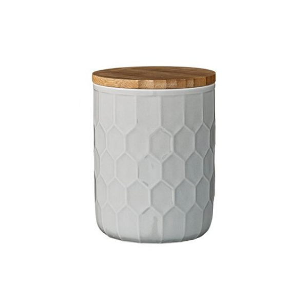 Simon Stoneware Canister with Bamboo Lid - Medium