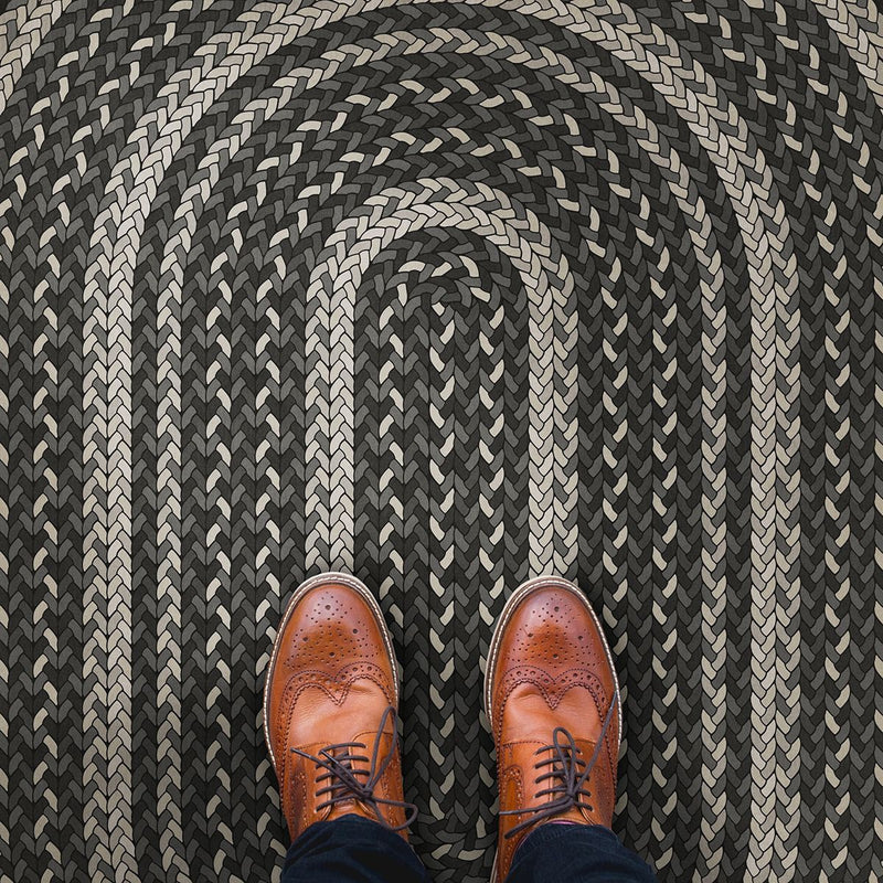 "Pattern 85 ""Such A Cozy Room"" Braided Oval Vinyl Floorcloth"