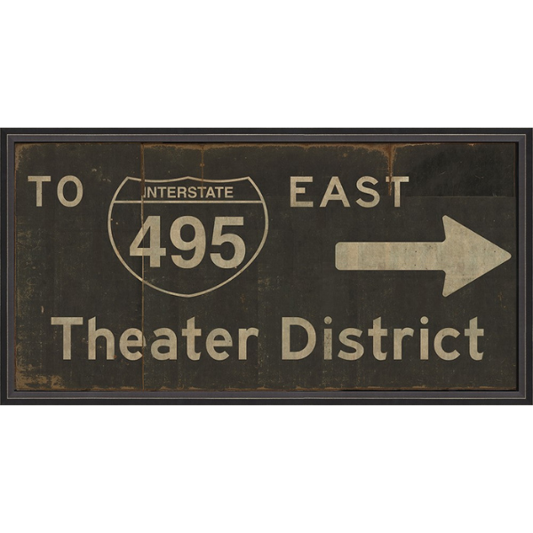 Theater District Vintage Road Sign