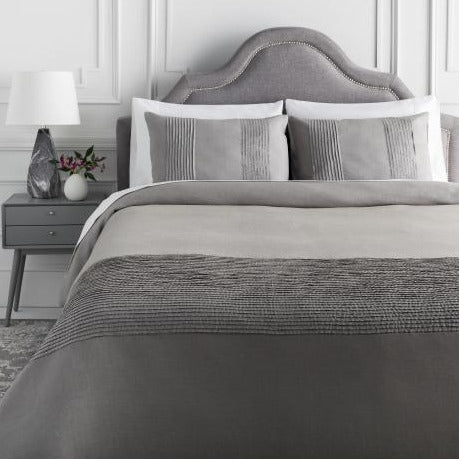 Uptown Chic Duvet Set, Medium Gray
