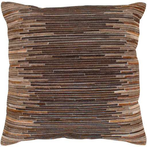 Baskin Hair On Hide Pillow, Dark Brown